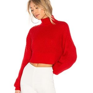 H&M | Chunky Red Cropped Cable Turtleneck Sweater